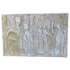 Roger Desserprit '1923-1985' Characters, 1964 Bas-Relief in Cement