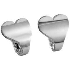 Roger Dubuis 18 Karat White Gold Diamond Heart Earrings