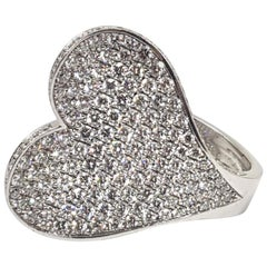 Roger Dubuis Signed 18 Karat White Gold Pave Diamond Curved Heart Cocktail Ring