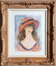 Portrait of a Girl, 1949 Watercolor Painting by Roger Etienne