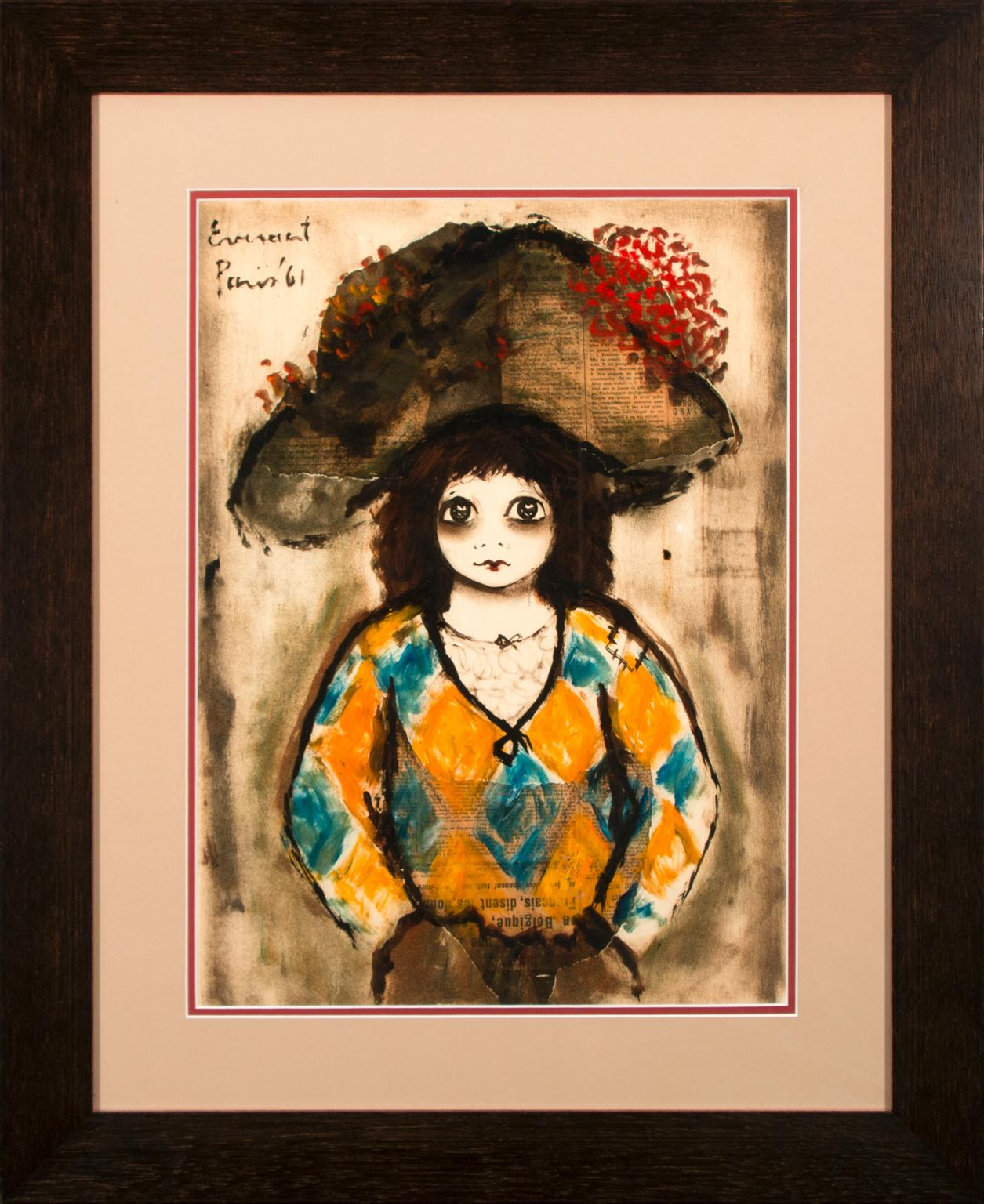 Untitled Harlequin Mixed-Media Painting by Roger Etienne Everaert, Framed