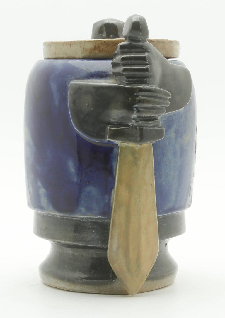 Glazed Roger Guerin Bouffioulx Belgian Art Pottery Jar with Lid, 1927 Signed For Sale