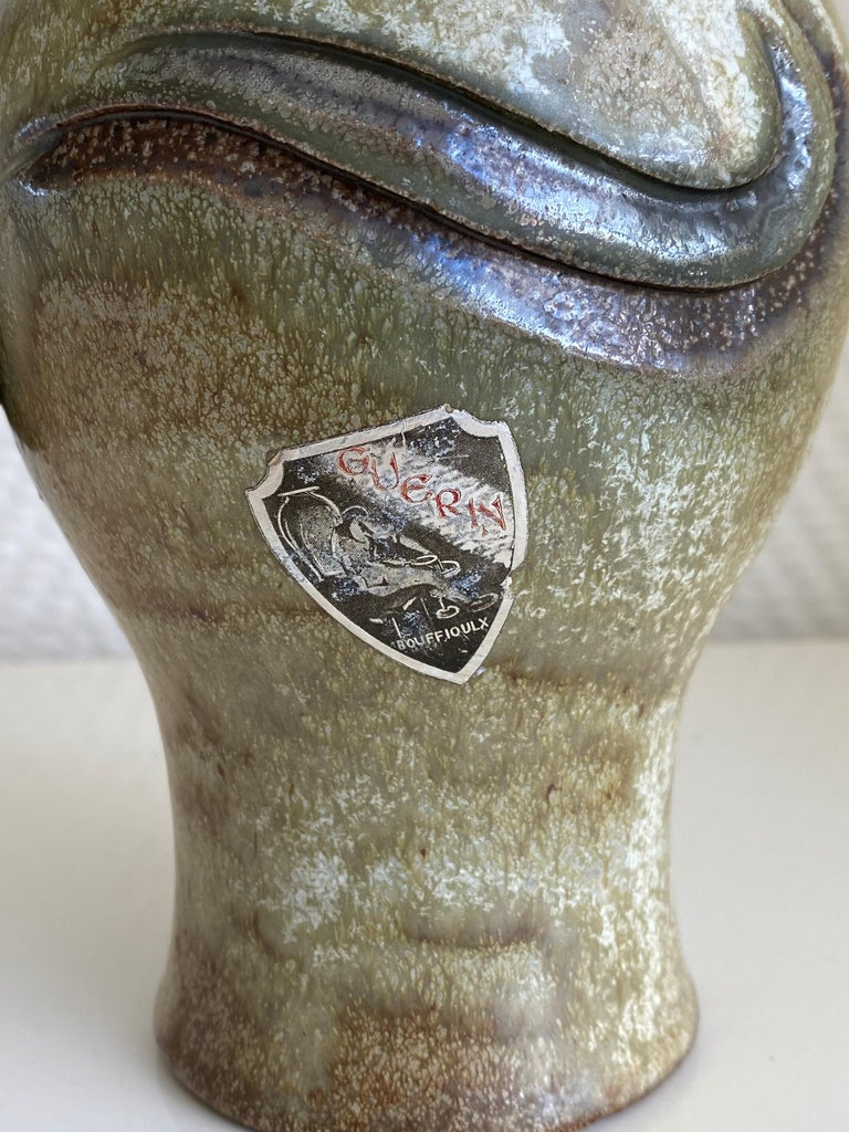 Ceramic Roger Guérin, Exceptional Hand Crafted Decanter or Vase, Ca. 1930 For Sale