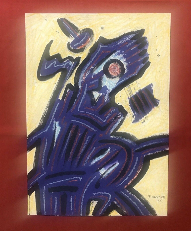 ROGER HERSON (1922-2008) SIGNED FRENCH ABSTRACT PAINTING - FIGURATIVE STUDY - Abstract Painting by Roger Herson