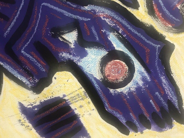 ROGER HERSON (1922-2008) SIGNED FRENCH ABSTRACT PAINTING - FIGURATIVE STUDY - Purple Abstract Painting by Roger Herson