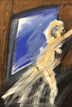 ROGER HERSON (1922-2008) SIGNED FRENCH ABSTRACT PAINTING - MOVING NUDE FIGURE