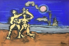 ROGER HERSON (1922-2008) SIGNED FRENCH ABSTRACT PAINTING - SURREALIST FIGURES