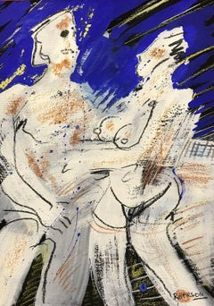 SIGNED FRENCH ABSTRACT NUDE PAINTING - NUDE COUPLE