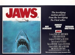 Original Vintage Classic Movie Poster For Spielberg's Thriller Film Jaws UK Quad