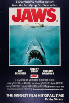 Original Vintage Steven Spielberg Movie Poster Jaws Iconic Design Shark Swimmer