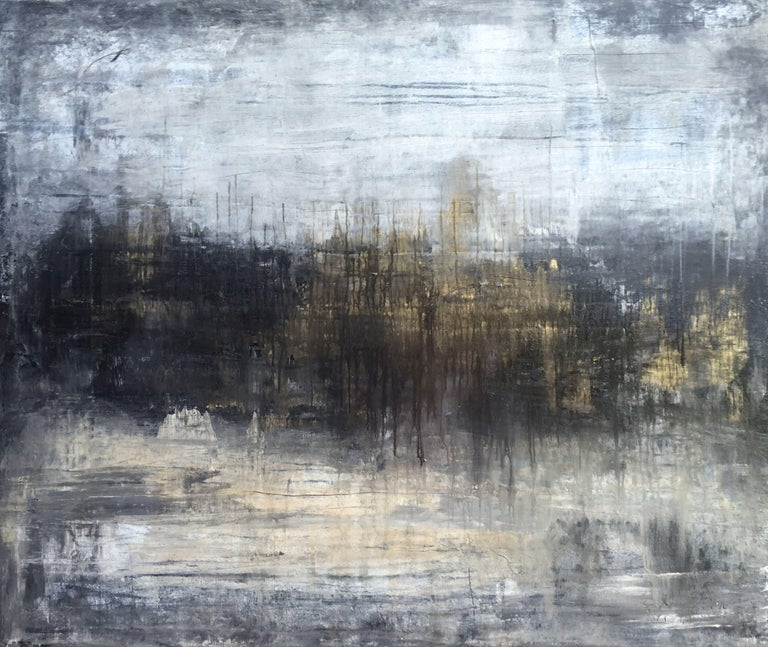 "Roger König Abstract Painting - ""1108 abstract gold city"", Painting, Acrylic on Canvas"
