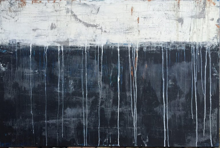 "Roger König Abstract Painting - ""1121 antique white drips/dark blue"", Painting, Acrylic on Canvas"