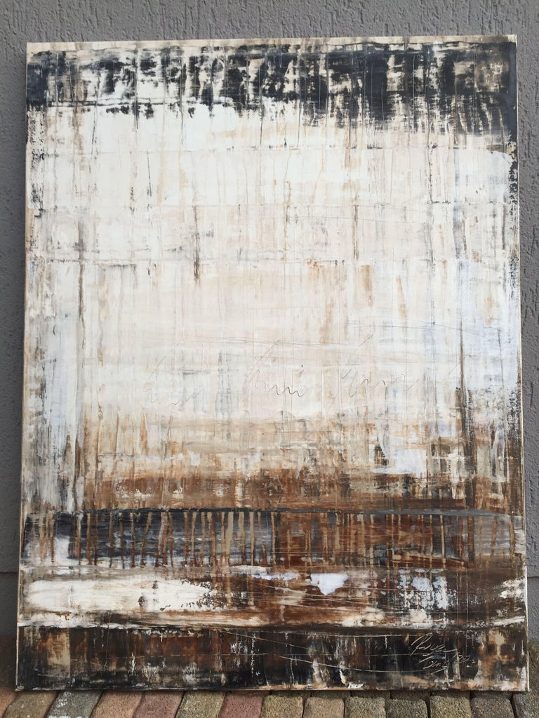 1135 abstract antique brown by Roger König  Koenig's input medium for his work takes on many forms… antique walls, a nice patina, and aged textures which overlap years of existence fascinate him. These attributes which are naturally attained over