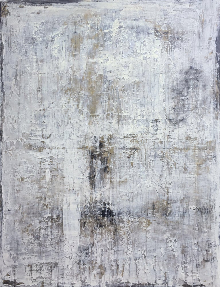 """Roger König Abstract Painting - """"1154 antique series white/gold"""", Painting, Acrylic on Canvas"""