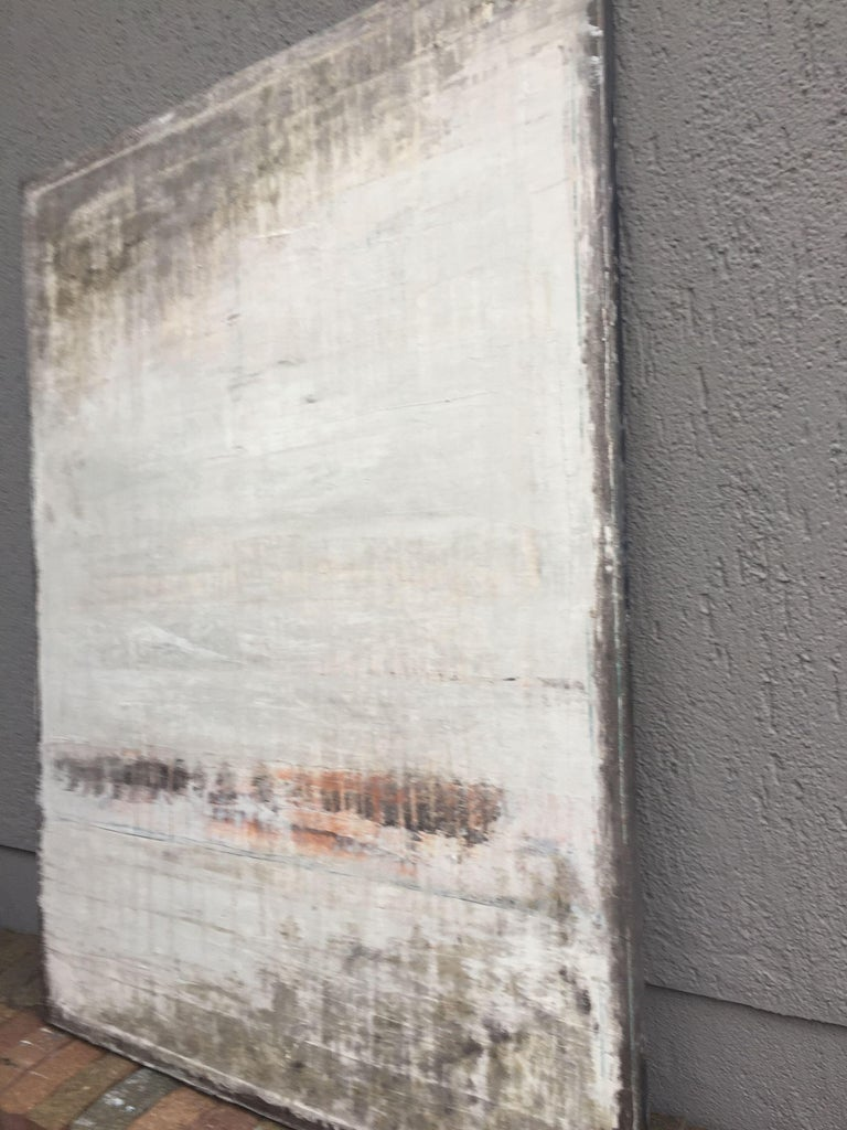 1187 abstract wall impressions König combines modern painting with acrylic with old techniques and in this way, he connects contemporary art with tradition. The natural clay color bestows the pictures with a completely special dim texture which