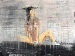 """1189 abstract young girl jogging"", Painting, Acrylic on Canvas"