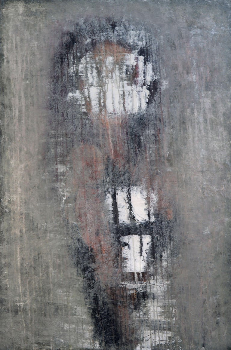 """Roger König Abstract Painting - """"1232 antique green girl"""", Painting, Acrylic on Canvas"""