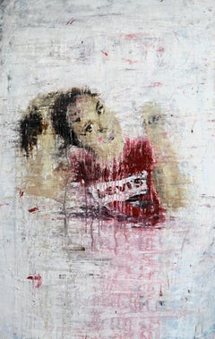 """""""1248 girl in a red t-shirt"""" Abstract, Figurativ Painting, 21st Century, Acrylic"""