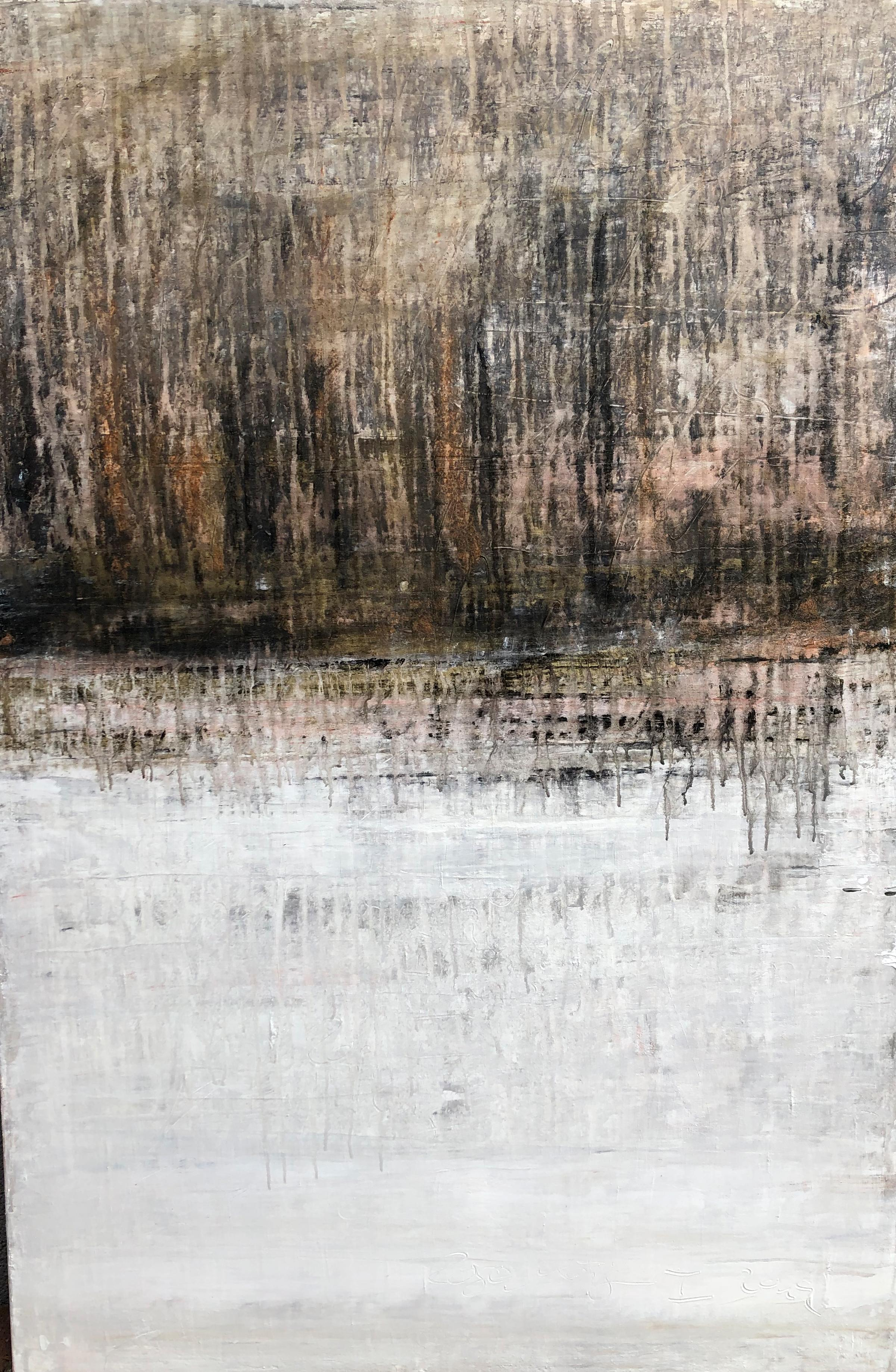 """""""1287 antique gold/white"""" Part 1, Abstract, Painting, 21st Century, Acrylic"""