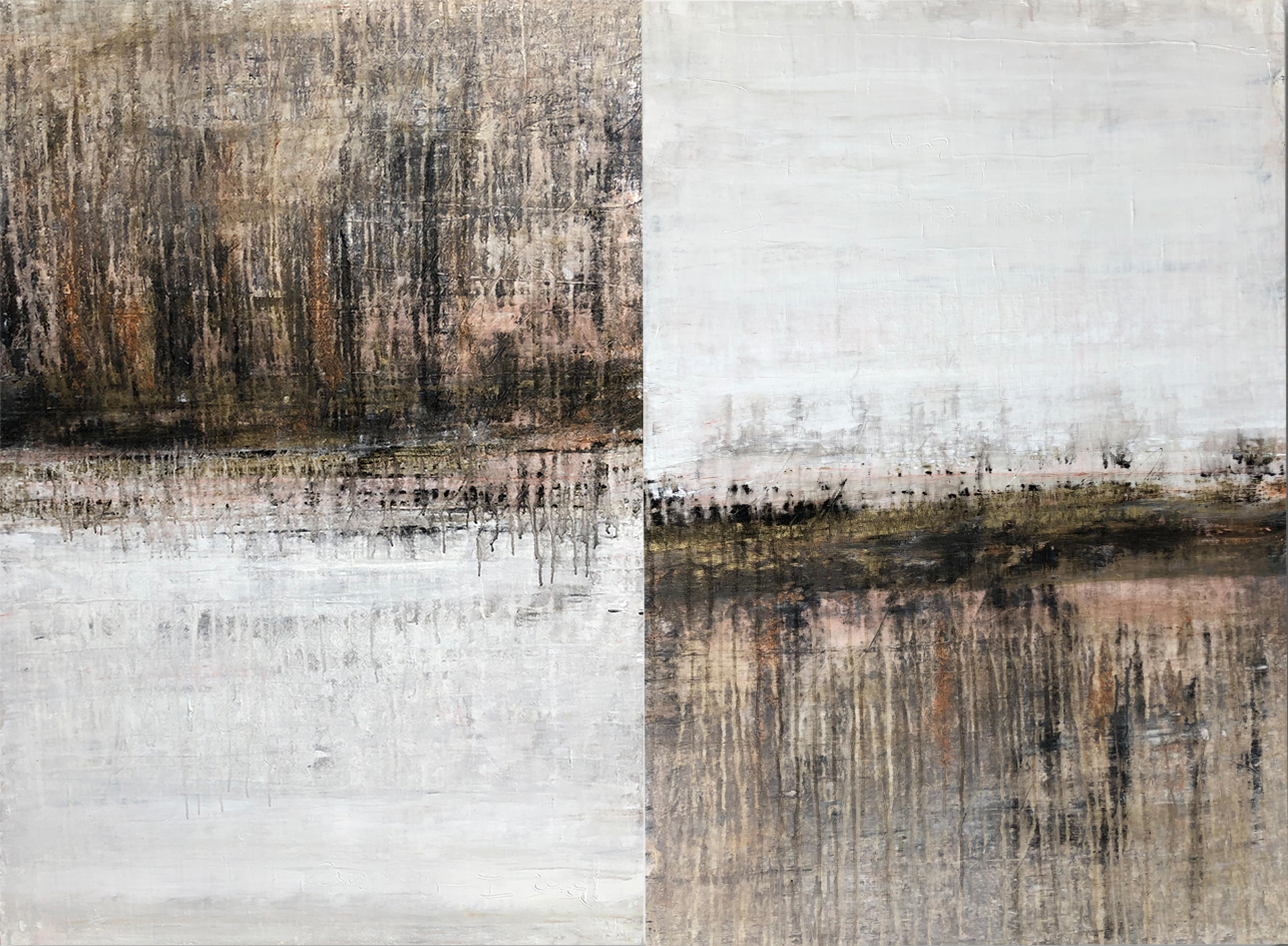 """""""1289 antique gold/white"""" (diptych) , Abstract, Painting, 21st Century, Acrylic"""