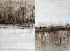 """1289 antique gold/white"" (diptych) , Abstract, Painting, 21st Century, Acrylic"