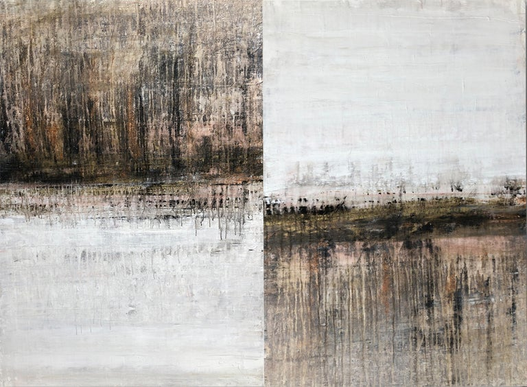 """Roger König Abstract Painting - """"1289 antique gold/white"""" (diptych) , Abstract, Painting, 21st Century, Acrylic"""
