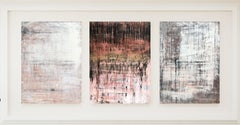 """1348 Antique Red Wall "" (triptych) , Abstract, 21st Century, Acrylic"
