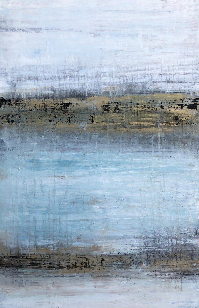"Roger König Landscape Painting - ""1369 Gold/White/Turquoise ""Landscape, Abstract Painting, 21st Century, Acrylic"