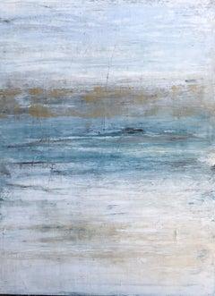 """1374 Hawaii Beach - Golden Horizon"" Part3, Seascape Painting, Acrylic"