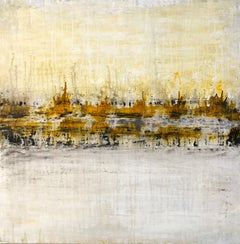 """1396 antique white /gold"", Landscape, Abstract, Painting, 21st Century,"