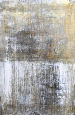 """1406 Antique Gold/White"" Abstract Painting, 21st Century, Acrylic"