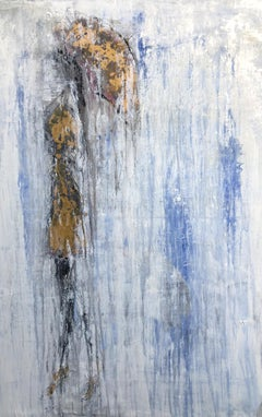 """1410 Umbrella Girl Gold/Lapis Lazuli, purest"" Abstract, Figurativ Painting,"