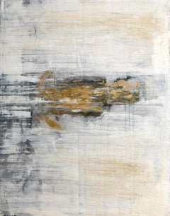 """""""1412 antique white/gold wall"""" Abstract, 21st Century, Acrylic"""