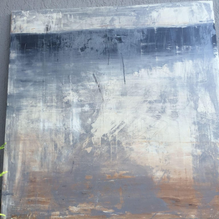 Abstract historic wall No.6, Painting, Acrylic on Canvas - Gray Abstract Painting by Roger König
