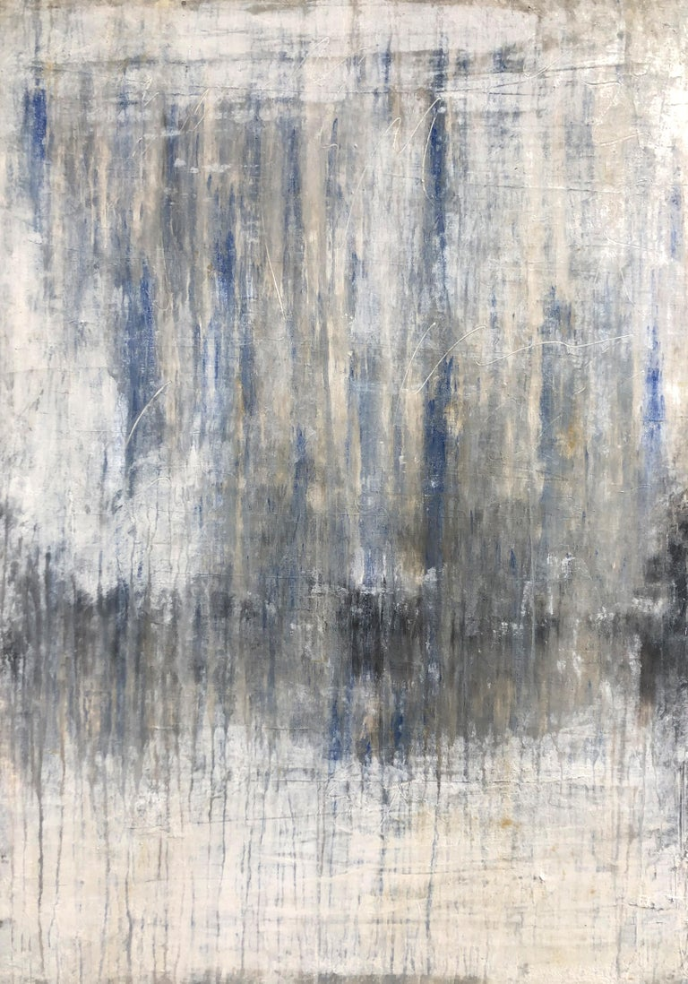 """Roger König Abstract Painting - """"Antique White/Lapis Lazuli, purest"""" Abstract,  Painting, 21st Century, Acrylic"""