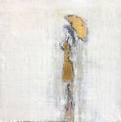 """Girl in the Rain - Gold Edition #1"" Abstract, Figurative, 21st Century, Acrylic"