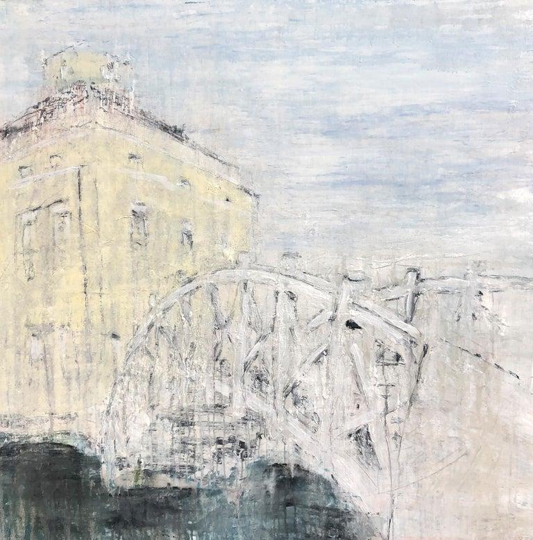 "Roger König Landscape Painting - ""Palladio Bridge in the Luisium"" Abstract,  Painting, 21st Century, Acrylic"