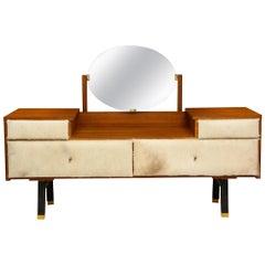 Roger Landault Crème Cowhide Brown Wood Vanity, France, Midcentury, 1950