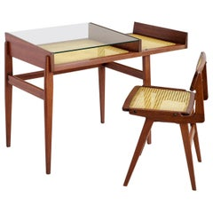 Roger Landault, Desk and His Chair, Mahogany and Cane, France, 1960