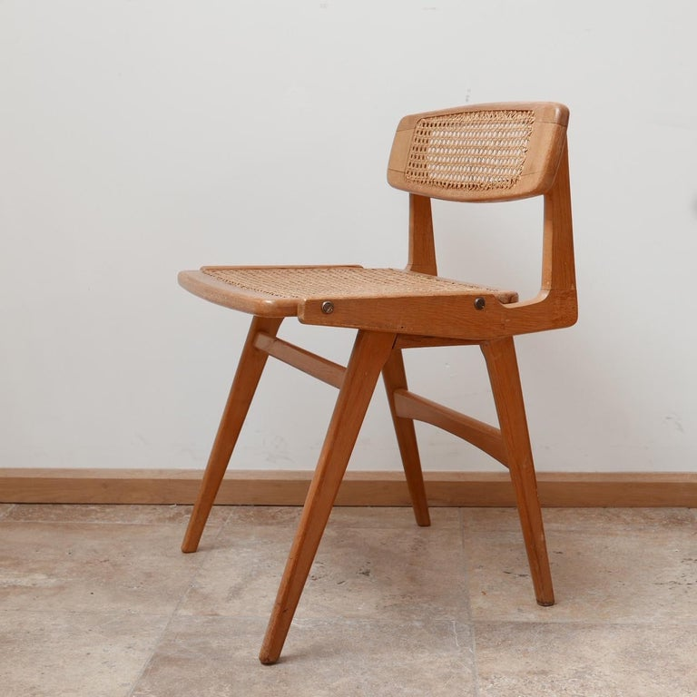 Roger Landault Mid-Century Wood and Cane Desk Chair 5