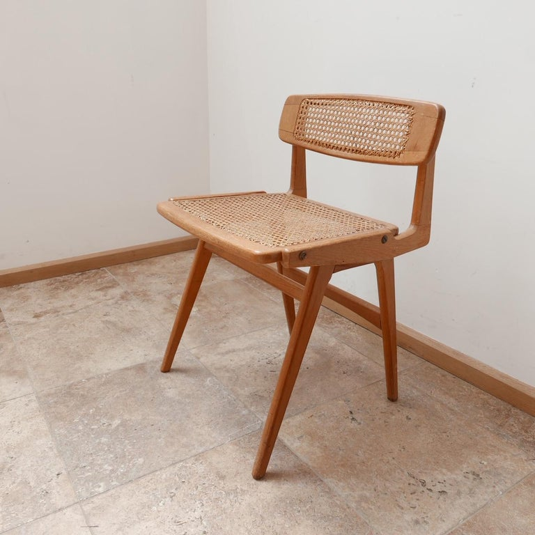 French Roger Landault Mid-Century Wood and Cane Desk Chair