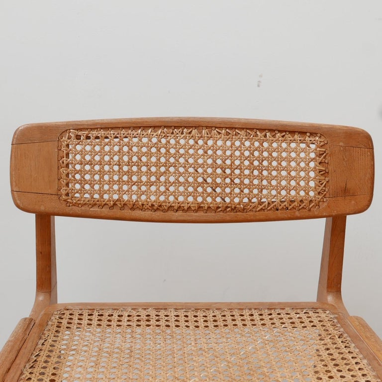 Roger Landault Mid-Century Wood and Cane Desk Chair 1