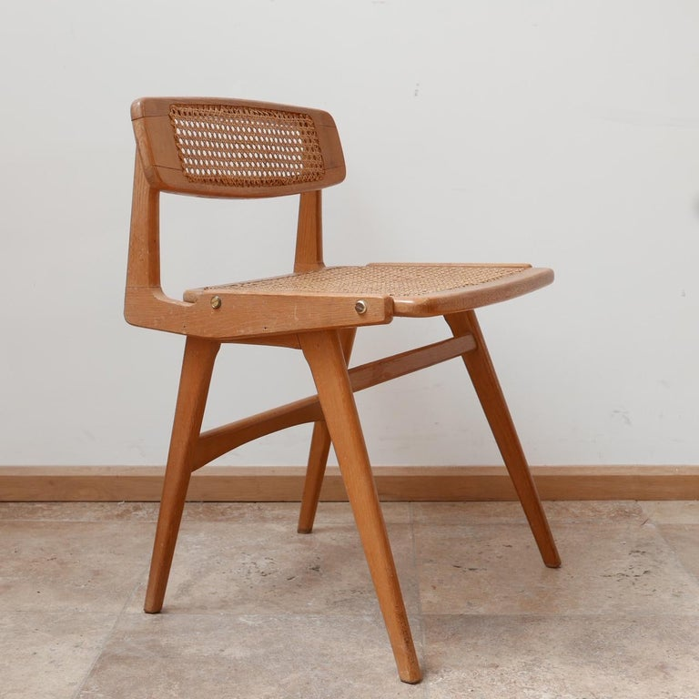 Roger Landault Mid-Century Wood and Cane Desk Chair 2