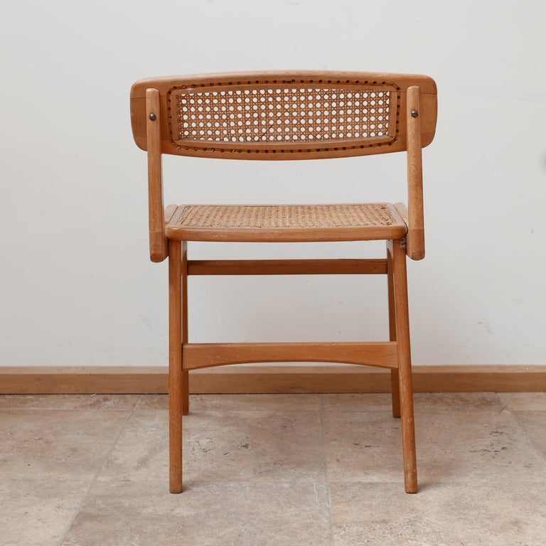 Roger Landault Mid-Century Wood and Cane Desk Chair 3