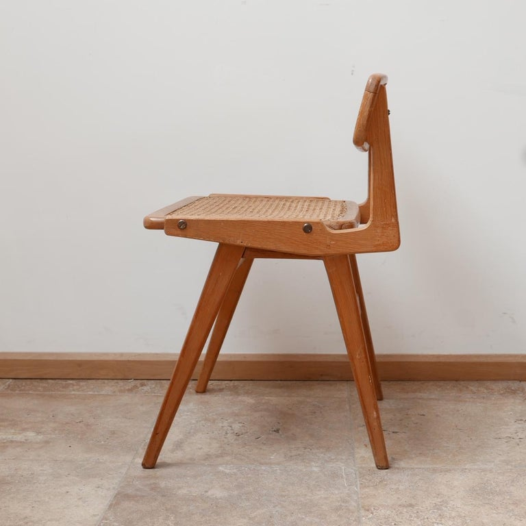 Roger Landault Mid-Century Wood and Cane Desk Chair 4