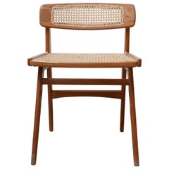 Roger Landault Mid-Century Wood and Cane Desk Chair