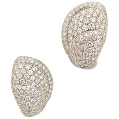 Roger Mathon for Cellini NYC 18 Karat White Gold and 5.39 Carat Diamond Earrings