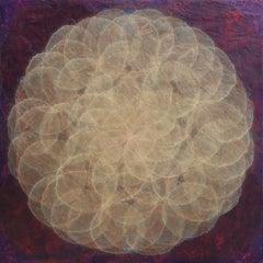 'Cocilliana I', Modern Iridescent Acrylic Gold and Purple Geometric Painting