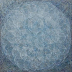 'Cocilliana II', Modern Iridescent Acrylic Wedgewood Blue Geometric Painting