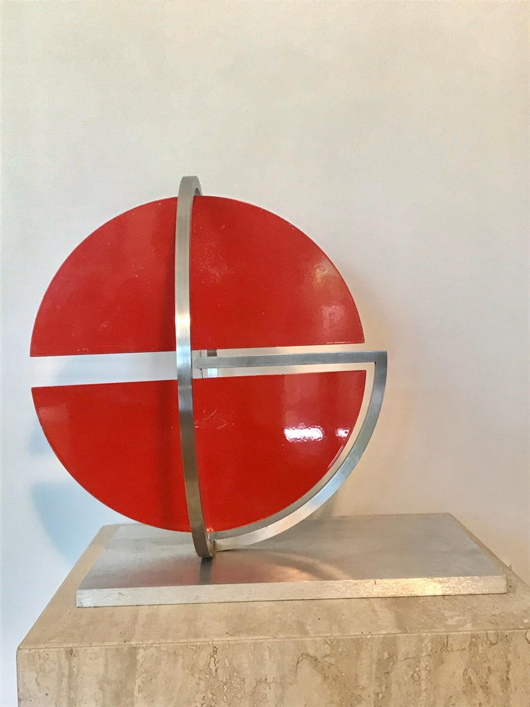 Mr. Phillips is an American artist who has been working with metal since he was a child,1930. His art education and hands-on approach to metal has been refined throughout the years. This fine example of his sculpture is so simple yet elegant. His